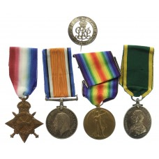 WW1 1914-15 Star, British War Medal, Victory Medal, Territorial F