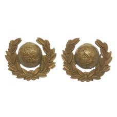 Pair of Royal Marines Brass Collar Badges