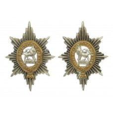 Pair of Worcestershire Regiment Officer's Silver Plated Collar Ba