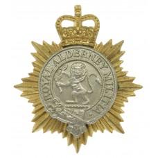 Royal Alderney Militia Bi-Metal Cap Badge - Queen's Crown