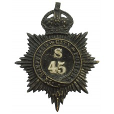 Sheffield City Police Black Helmet Plate - King's Crown (S45)