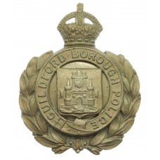 Guildford Borough Police Wreath Helmet Plate - King's Crown