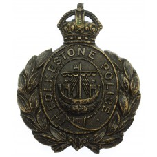 Folkestone Borough Police Black Wreath Helmet Plate - King's Crow