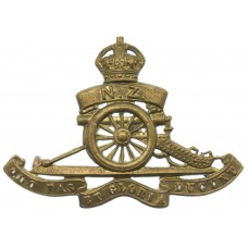 Royal New Zealand Artillery Cap Badge - King's Crown