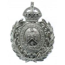 Burnley Borough Police Small Wreath Helmet Plate - King's Crown