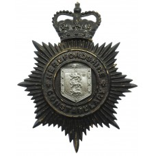 Herefordshire Constabulary Black Helmet Plate - Queen's Crown
