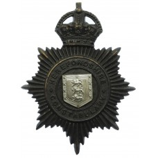 Herefordshire Constabulary Black Helmet Plate - King's Crown