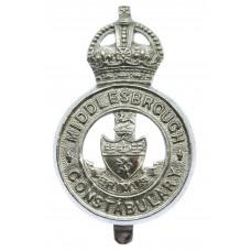 Middlesbrough Borough Police Cap Badge - King's Crown