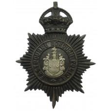 Eastbourne Borough Police Black Helmet Plate - King's Crown