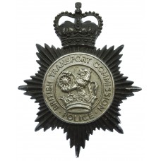 British Transport Commission Police Blackened Chrome Helmet Plate - Queen's Crown