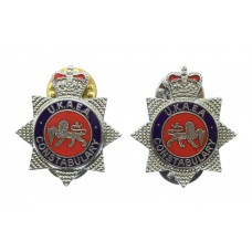 Pair of United Kingdom Atomic Energy Authority (U.K.A.E.A.) Constabulary Enamelled Collar Badges - Queen's Crown