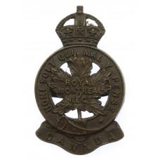 Canadian Royal Montreal Regiment Officer's Service Dress Cap Badge