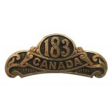 Canadian 183rd Infantry Battalion (Manitoba Beavers) WW1 C.E.F. Shoulder Title