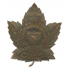 Canadian 158th Infantry Battalion (Duke of Connaught's Own) WW1 C