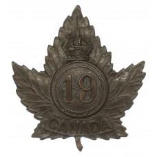 Canadian 19th (Toronto, Ontario) Infantry Battalion WW1 C.E.F. Cap Badge