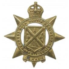 Canadian West Nova Scotia Regiment Cap Badge - King's Crown