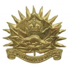 Canadian Westminster Regiment Cap Badge - King's Crown