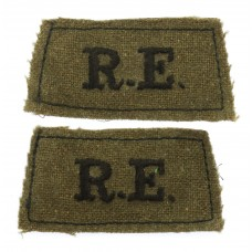 Pair of Royal Engineers (R.E.) WW2 Cloth Slip On Shoulder Titles
