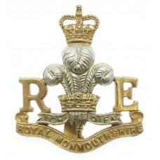 Royal Monmouthshire Royal Engineers Anodised (Staybrite) Cap Badg