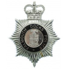 Falmouth Docks Police Enamelled Helmet Plate - Queen's Crown