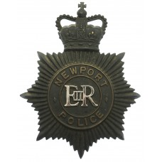 Newport Police Black Helmet Plate - Queen's Crown
