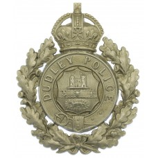 Dudley Borough Police White Metal Wreath Helmet Plate - King's Crown
