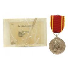 EIIR Fire Brigade Long Service Medal in Box - Leading Fireman Bernard Oxley, Nottinghamshire Fire Brigade