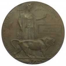 WW1 Memorial Plaque (Death Penny) - Lieutenant Walter Ible James, 3rd Bn. Royal Welsh Fusiliers - K.I.A. 25/9/15