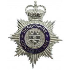 Derbyshire Constabulary Enamelled Hemet Plate - Queen's Crown