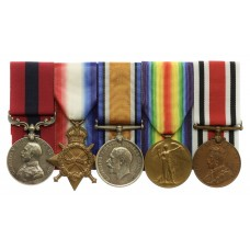 WW1 Distinguished Conduct Medal, 1914-15 Star, British War Medal, Victory Medal and Special Constabulary Long Service Medal Group of Five - Sjt. J. Goodall, Royal Field Artillery - Twice Wounded