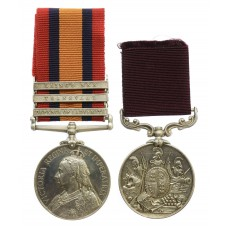 Queen's South Africa Medal (3 Clasps - Defence of Ladysmith, Transvaal, Laing's Nek) and Army Long Service & Good Conduct Medal Pair - Sergeant Major W.J. Gibbs, 2nd King's Royal Rifle Corps