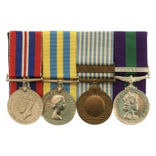 WW2 War Medal, Queen's Korea, UN Korea and GSM (Clasp - Cyprus) Medal Group of Four - Sgt. J. Parren, Royal Leicestershire Regiment - Wounded 'whilst on patrol in the Orange Grove' and Awarded C-in-C for Cyprus