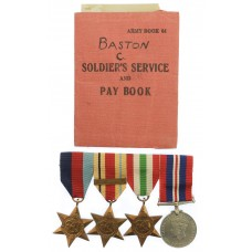 WW2 Medal Group of Four with Soldier's Service and Pay Book - Gnr