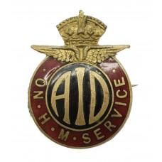 WW2 Aeronautical Inspection Directorate A.I.D. On H.M. Service Enamelled Lapel Badge