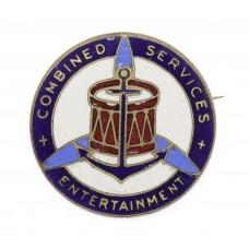 Scarce WW2 Combined Services Entertainment Enamelled Lapel Badge