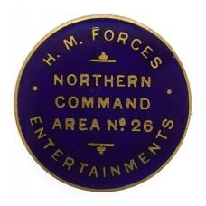 Scarce WW2  H.M. Forces Entertainment Northern Command Area No.26 Enamelled Lapel Badge