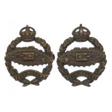 Pair of Royal Tank Regiment Officer's Service Dress Collar Badges - King's Crown