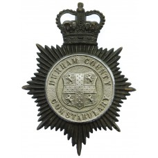Durham County Constabulary Black and Chrome Helmet Plate - Queen'