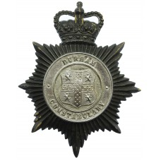 Durham Constabulary Black and Chrome Helmet Plate - Queen's Crown