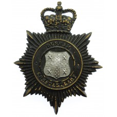 Durham Constabulary Black Helmet Plate - Queen's Crown