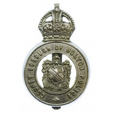 County Borough of Bolton Police Cap Badge - King's Crown