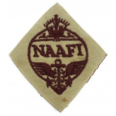WW2 Navy, Army & Air Force Institutes (N.A.A.F.I.) Cloth Overalls Badge (Maroon on Beige)