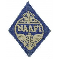WW2 Navy, Army & Air Force Institutes (N.A.A.F.I.) Cloth Overalls Badge (White on Blue)