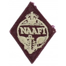 WW2 Navy, Army & Air Force Institutes (N.A.A.F.I.) Cloth Overalls Badge (White on Maroon)