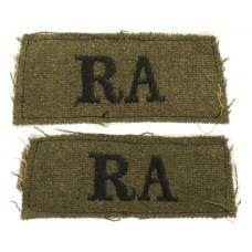Pair of Royal Artillery (R.A.) WW2 Cloth Slip On Shoulder Titles