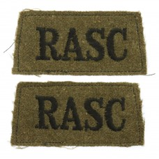 Pair of Royal Army Service Corps (R.A.S.C.) WW2 Cloth Slip On Shoulder Titles