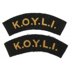 Pair of King's Own Yorkshire Light Infantry (K.O.Y.L.I.) Cloth Sh