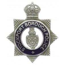Stockport Borough Police Senior Officer's Enamelled Cap Badge - King's Crown