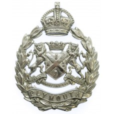 Plymouth City Police Wreath Helmet Plate - King's Crown