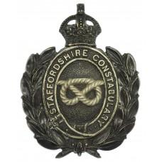 Staffordshire Constabulary Black Wreath Helmet Plate - King's Crown